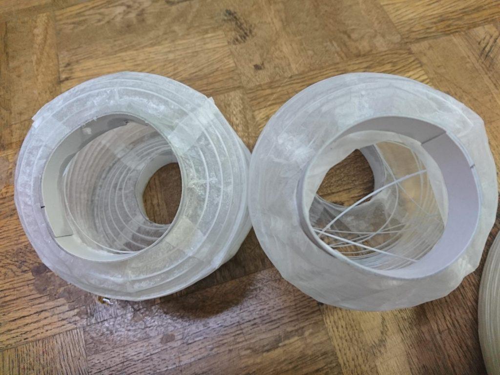 耐水難燃の和紙ちょうちんの耐水テストと難燃テストをした画像