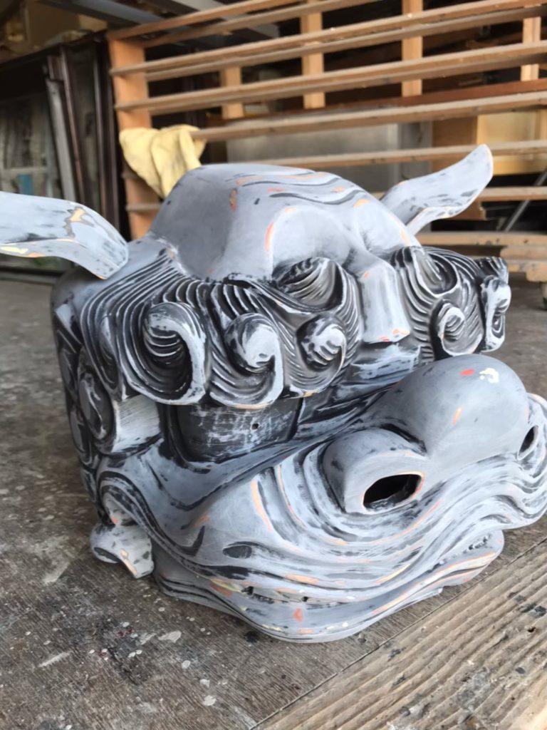 研磨後に仮組した獅子頭の画像