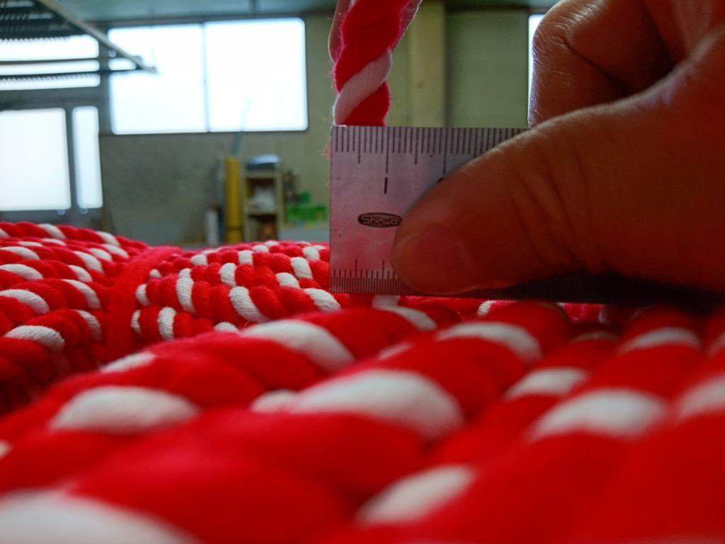 綿の紅白ロープ(紐)の画像